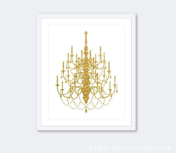 Gold Chandelier Art Print Faux Foil Wall