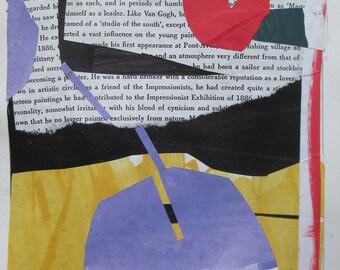 Passer par, Collage abstrait Original sur papier, Stooshinoff