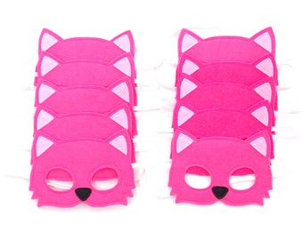 Pink Cat Masks - Party Pack - 10 Masks - Kid's Mask - Pink Cat - Mask - Dress Up - Play - Costume - Party Favor - Dress Up - Halloween Cat