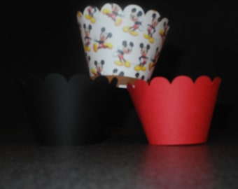 48 Disney Mickey Mouse Cupcake Wrapper- Set of 48. Free shipping