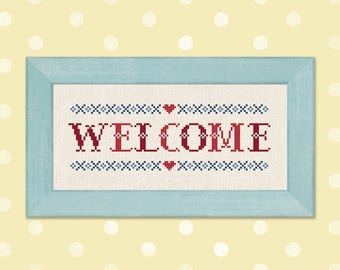 Welcome Cross Stitch Pattern. Red and Blue Text Simple Cute Homey Counted Cross Stitch Pattern PDF File. Instant Download