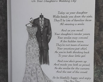 Handmade Personalised A5 On Daughter/Son's Wedding Day Card Hand Drawn Design