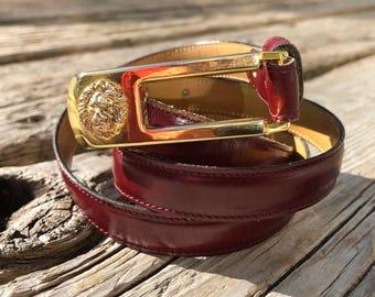Leather Anne Klein for Caldron Vintage Belt w Lion Belt Buckle