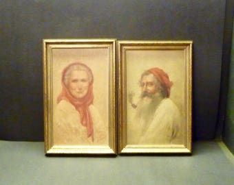 Antique Print Pr.- Peasant Couple - Framed-