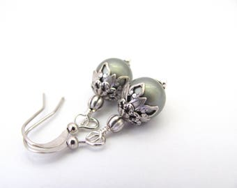 Sage Green Pearl Earrings, Swarovski Crystal Pearls, Dainty Dangle Silver Plated, Bridal Jewelry, Bridesmaid Earrings, Hawaiian Jewelry