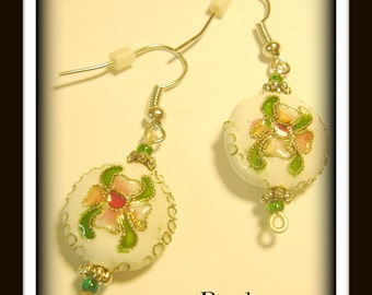 White round...Cloisonné metal flower bead dangles