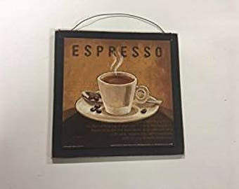 Espresso Latte or Cappuccino Wooden Coffee  Kitchen Wall Art Sign cafe wood decor choose style