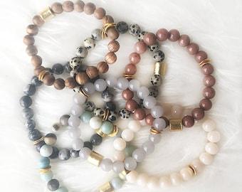 Beaded Natural Gemstone Stackable Bracelets - Stretchy Beaded Bracelet - Gold - Beaded Bracelet - Gemstone Bracelet - Stretchy Bracelet