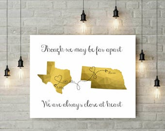 Long Distance Best Friend Gift | Distance Friendship Quote | Birthday Gift For Friend | Geometric Gold Print | Gift For Mom - 54277