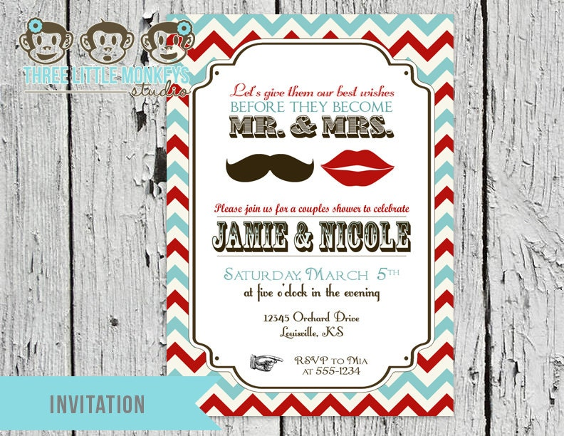 Vintage Mr and Mrs Couples Wedding Shower Party Invitation