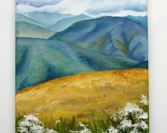Mysty Mountains-Oil painting on streched canvas, Landscape, original small oil painting, art