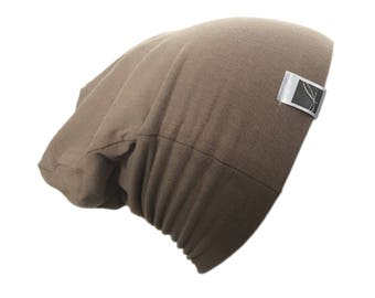 Hat for children; slouchy beanie. Jersey; Unisex. taupe