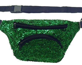 Green Sequined Fanny Pack