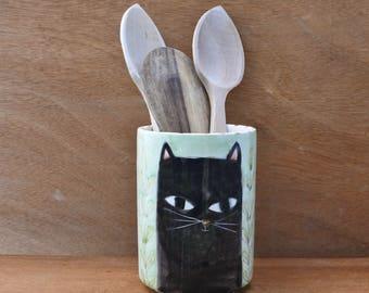 "Kitchen jar for utensils ""Cats"""