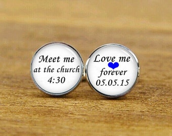 meet me at the church cufflinks, love me forever cuff links, custom date, custom wedding cufflink, round, square cufflinks, tie clips, set