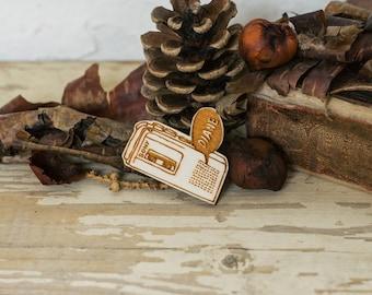 Diane Twin Peaks Brooch, Laser Cut Plywood Pin