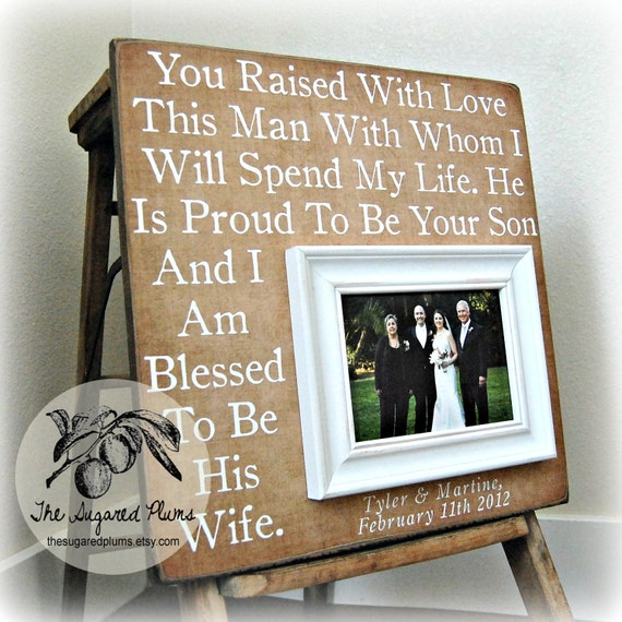 Parents Of The Groom Frame: Parents Of The Groom Gift Personalized Picture Frame Parents