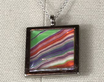 one of a kind handmade marbled paper and resin necklace 2