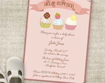 Hello Cupcake Baby Shower Invitation Banner Custom Digital Printable File with Professional Printing Option