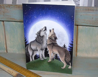 A5 Wolf Song Illustration Journal ~ Notebook with 48 Lined Pages