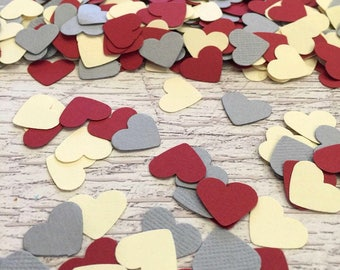 Heart Confetti Table Decor  Wedding Dark Red Grey Cream Heart Confetti  Anniversary Paper Heart Party Confetti  Table Scatter Sprinkle