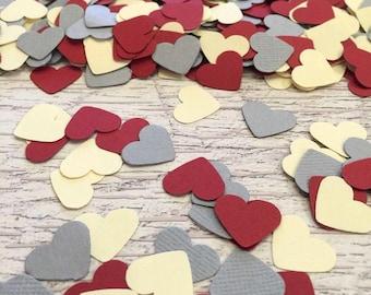 Coeur confettis Table Decor mariage coeur crème gris rouge foncé confettis anniversaire papier coeur confettis Party Table dispersion saupoudrer