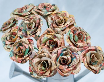 Paper flowers for weddings and all occasions by diddlebug on etsy one dozen long stem comic book paper roses mightylinksfo
