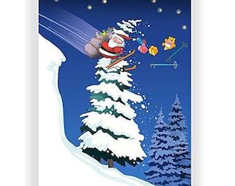 Santa Hits a Tree Skiing Christmas Card - 18 Cards & Envelopes - KX302