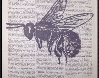 Vintage Bumble Bee Print Vintage Dictionary Print Page Wall Art Picture Insect Illustration