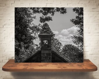 Old Church Steeple Photograph - Fine Art Print - Wall Decor - Black & White Photo - Pictures of Churches - Wall Art - Vines - Clouds