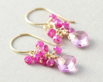 Pink Topaz Dangle Earrings, Sapphire Cluster Earrings, September Birthday, December Birthstone