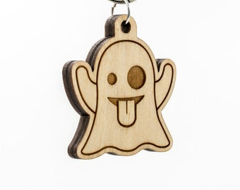 Ghost Emoji Wood Keychain - Ghost Emoji Carved Wood Key Ring - Ghost Emoticon Engraved Charm