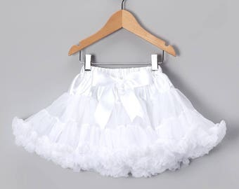 Full and Fluffy White chiffon Petttiskirt . Available in a variety of colors.