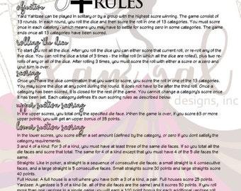 Yard Yahtzee (Yardzee) Rules