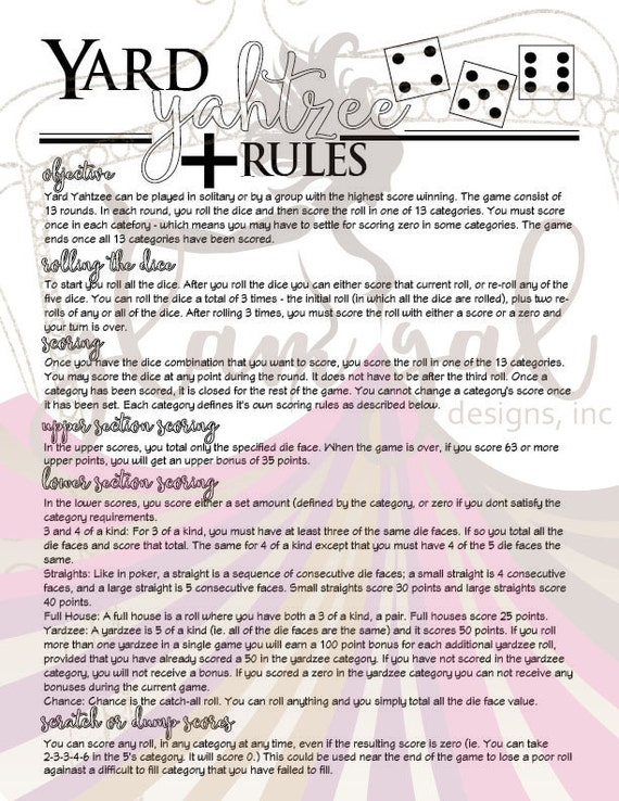 Genius image inside free printable yardzee rules