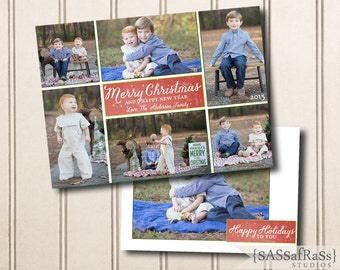 Merry Christmas Block--Christmas Card Template for Adobe Photoshop, Photographer Template, Instant Download, DIY, Commercial Use
