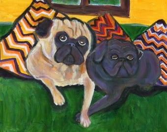 Pug card art, featuring  black and fawn pug near pillows