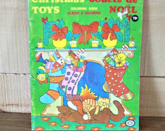 Vintage Christmas Coloring Book Album Kid Gift 80s Kids