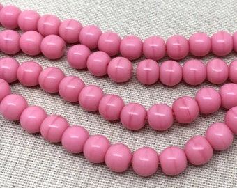 25 Rosy Pink Czech Round Glass Beads 6mm