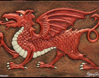 Welsh Dragon - Cast Paper - Fantasy art - Celtic Dragon - Celtic Knot -  Draco - Wyrm - Red Dragon