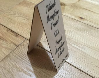 I think therefore I read wooden bookmark