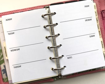 Weekly Planner Inserts | Week On Two Pages | WO2P | Pocket Size Planner
