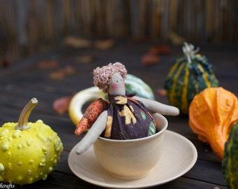 Tilda Doll Halloween Scary Angel Tea Cup Brown Leaf Fall Autum