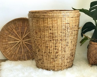 Large Linen Basket -  Rattan Hamper Basket - Wicker Laundry Basket + Handles - Deep Tall Antique Wicker Basket - Tall Laundry Basket