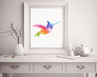 Hummingbird Print - Watercolor Hummingbird Print - Hummingbird Art - Hummingbird Watercolor Art - Watercolor Prints - Nursery Decor