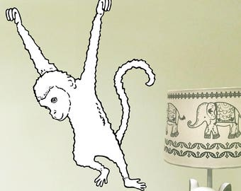 Monkey Wall Decal, Jungle Wall Sticker, Fabric Wall Sticker (Not Vinyl), Nursery