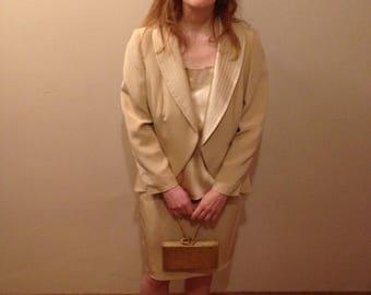 Vintage silk 3 piece skirt suit - cream/pearl color
