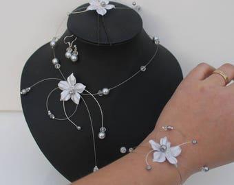 Set of jewelry for Marieeparure wedding necklace silver gray satin flower bracelet + earrings + hair jewelry