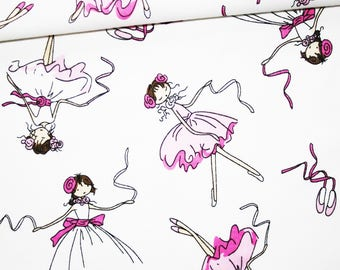 Ballet dancers, 100% cotton fabric printed 50 x 160 cm pattern dancers on a white background