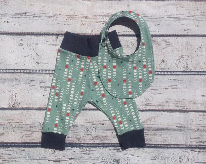 Organic Teal Moon Phase Baby Harem Pants and Bib Set
